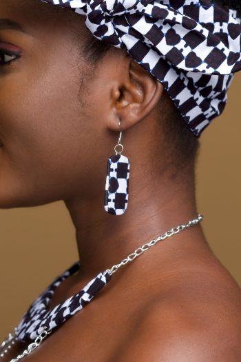 Ankara Rectangle Drop Earrings in Black and White African Print by Naborhi