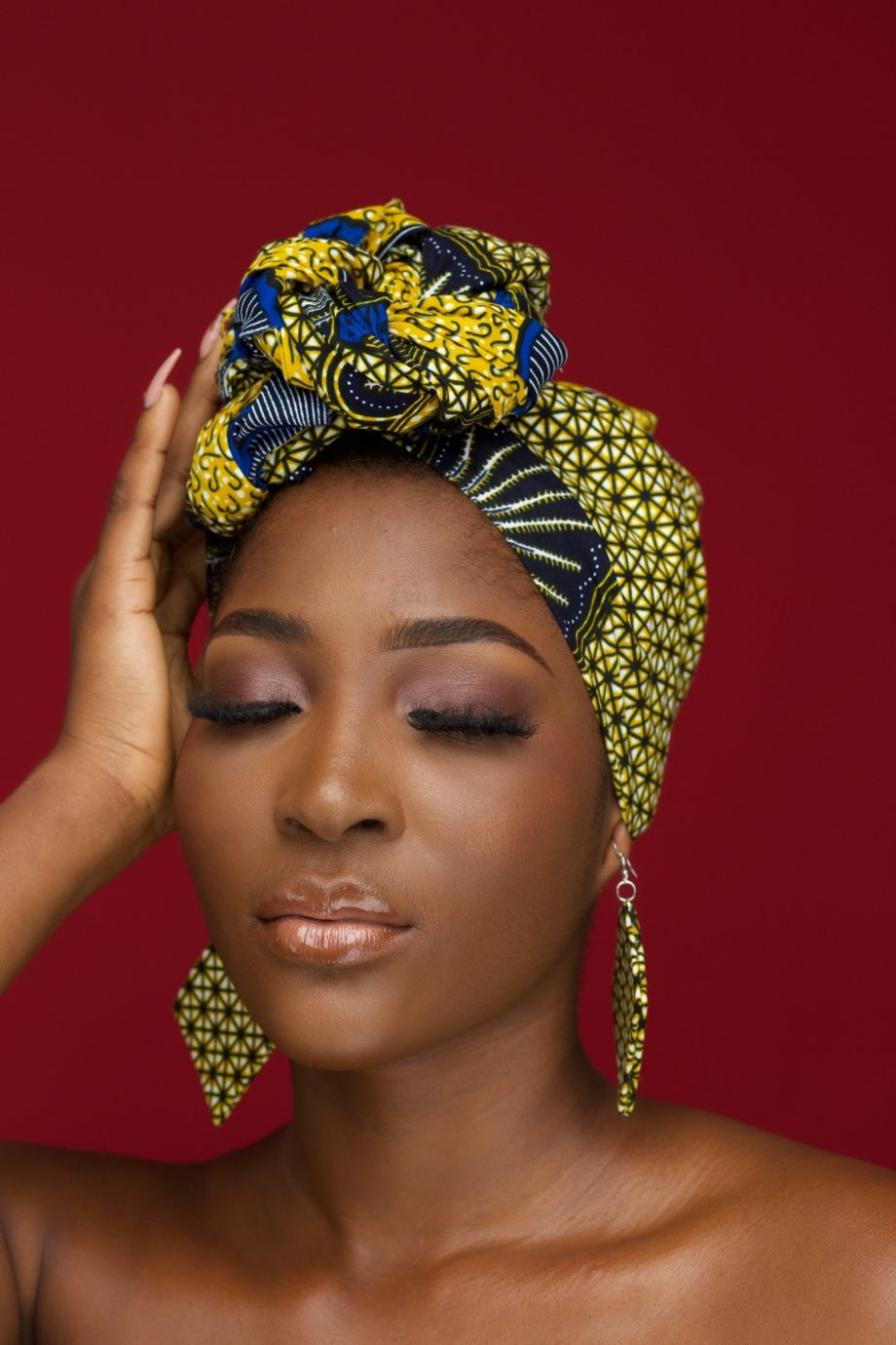 African Head Wrap in Yellow and Blue Ankara Print - KETA by Naborhi