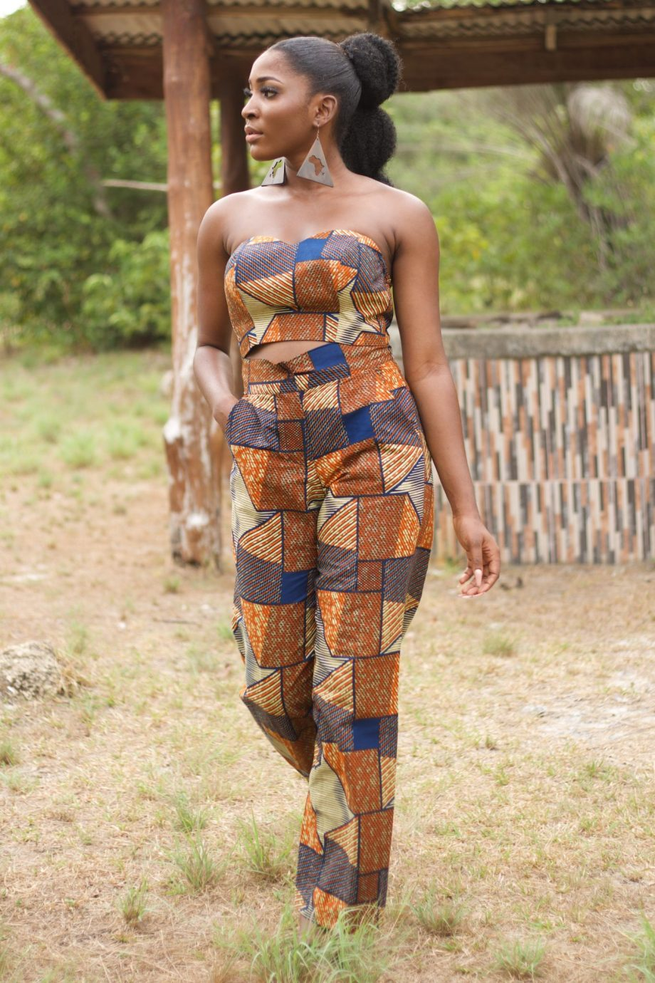 African Print Ankara Crop Top and Matching Wide Leg Trousers - Suwa by Naborhi