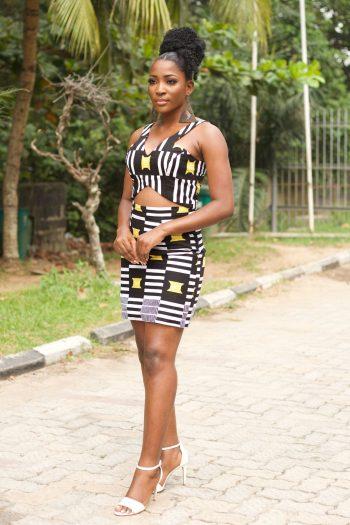 African Print Ankara Crop Top and Mini Skirt Set in Black and White Ankara - Kasimma by Naborhi