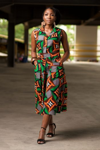 African Print Ankara Midi Shirt Dress - Alheri by Naborhi