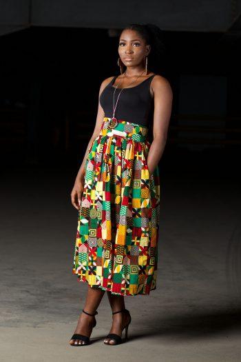 African Print Ankara Midi Skirt with Pockets in Ankara Patchwork Print - Ronke Midi Skirt by Naborhi