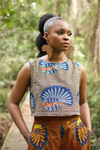 African Print Crop Top in Shellfish Print by Naborhi - Bami Ankara Top