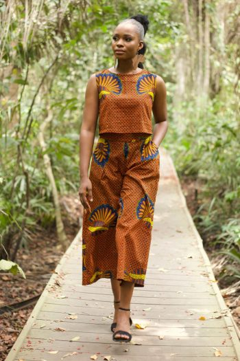 African Print Culottes and Matching Crop Top in Shell Print Ankara - Morayo by Naborhi - African Clothing for Women