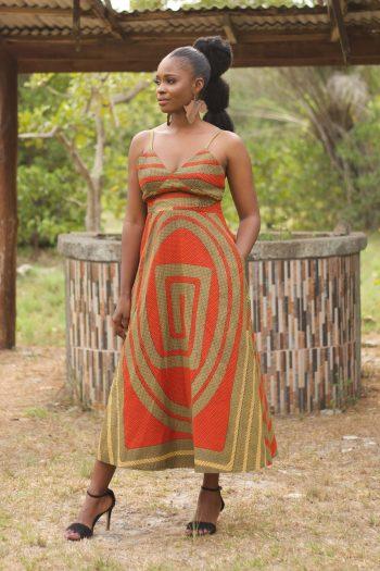 African Print Midi Dress Oseye by Naborhi