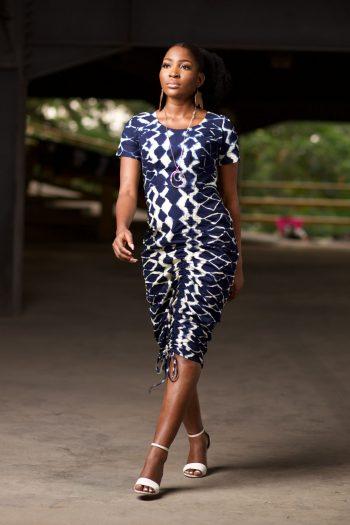 African Print Midi Dress in Adire Design - Jafari by Naborhi