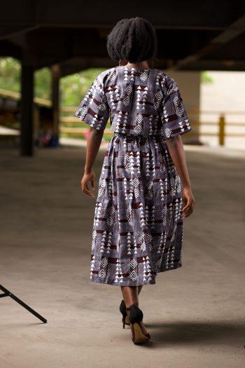 Berhane African Print Crop Top And Matching Midi Skirt in a Grey Ankara Print - Berhane by Naborhi