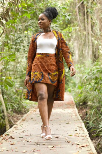 Brown Ankara Kimono Morayo in African Print with Matching African Print Wrap Mini Skirt by Naborhi