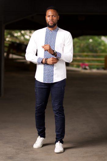 Long Sleeve African Print Shirt with Blue Ankara Print - Abbo by Naborhi