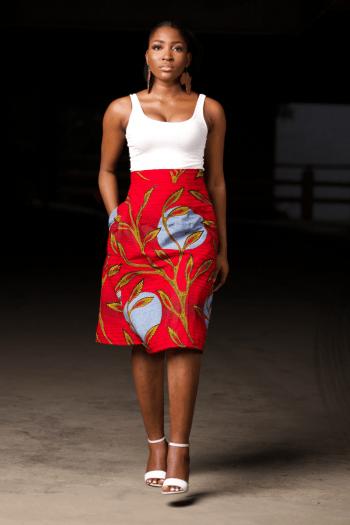 ABEKE Red Ankara Wrap Skirt by Naborhi