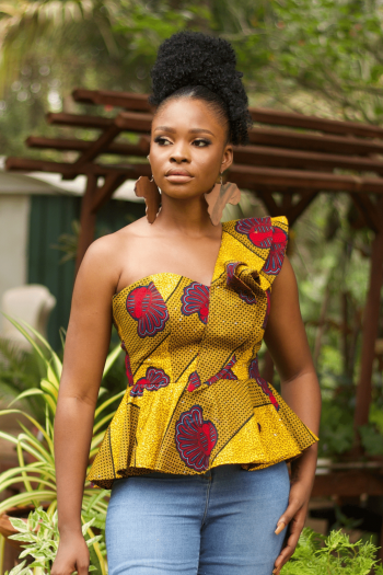 ADIA African Print One Shoulder Peplum Top in Yellow and Red Ankara Print by Naborhi
