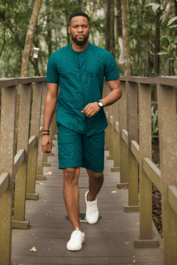 ANAN African Mens Shorts Suit in Teal by Naborhi