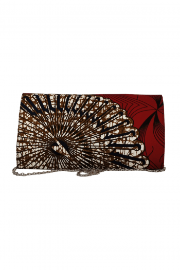 ANI African Print Chain Clutch HandBag in Red by Naborhi