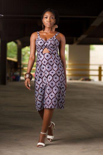 ASOKA Blue African Midi Dress by Naborhi