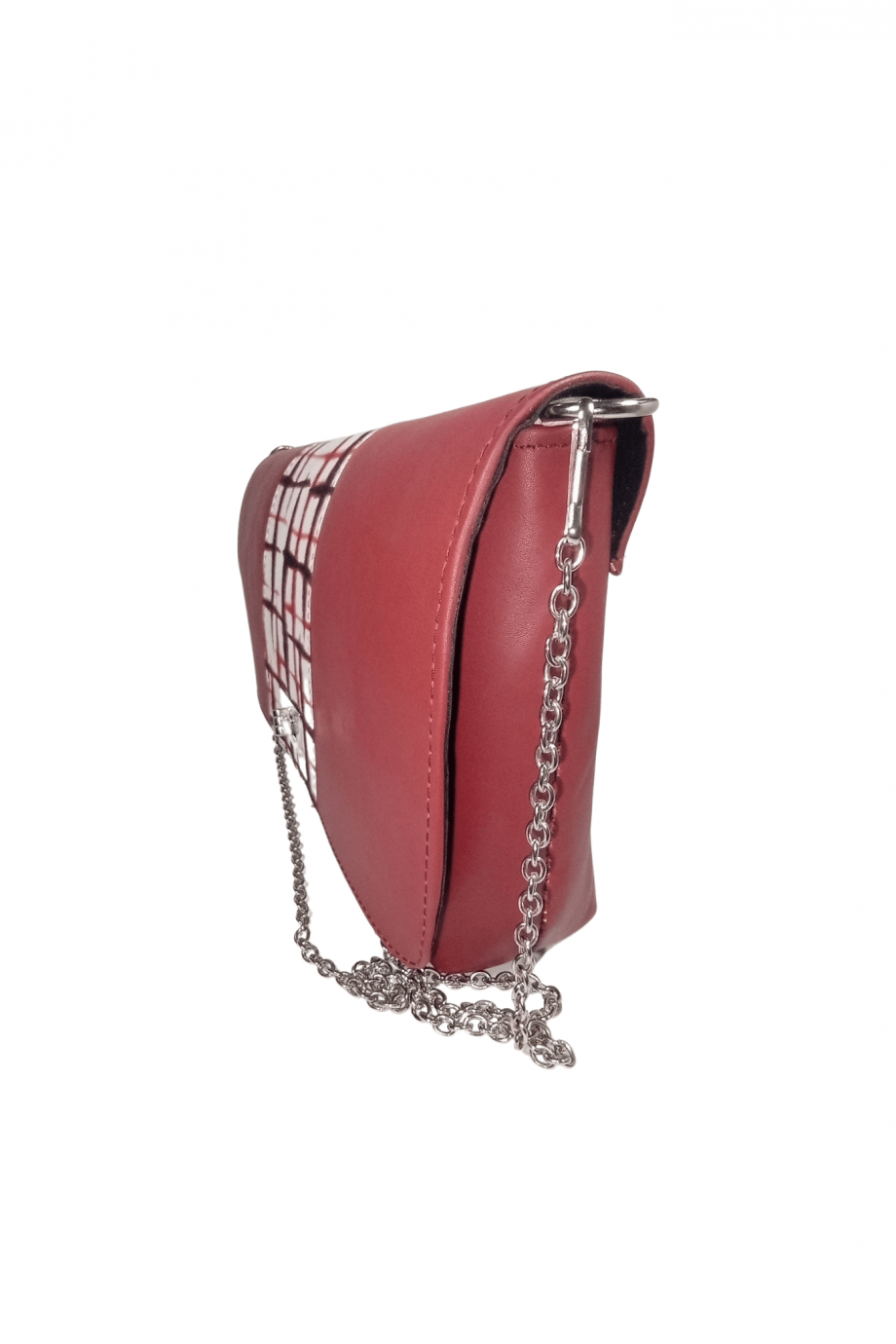 African Print Adire with Red Leather Handbag DEZE by Naborhi