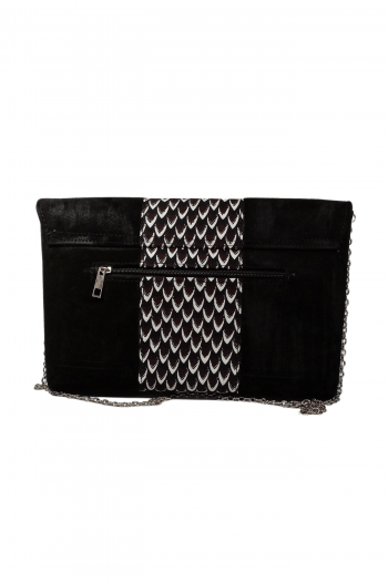 Black African Suede Leather Clutch Handbag IFEDE by Naborhi