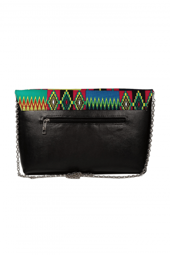Leather Kente Hand Bag in Multi Coloured Print By Naborhi