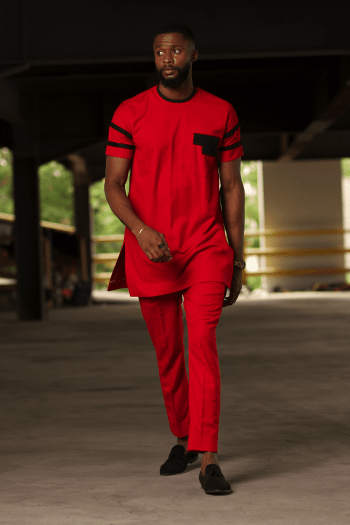 OSULA Red African Suit for Men with Short Sleeves by Naborhi