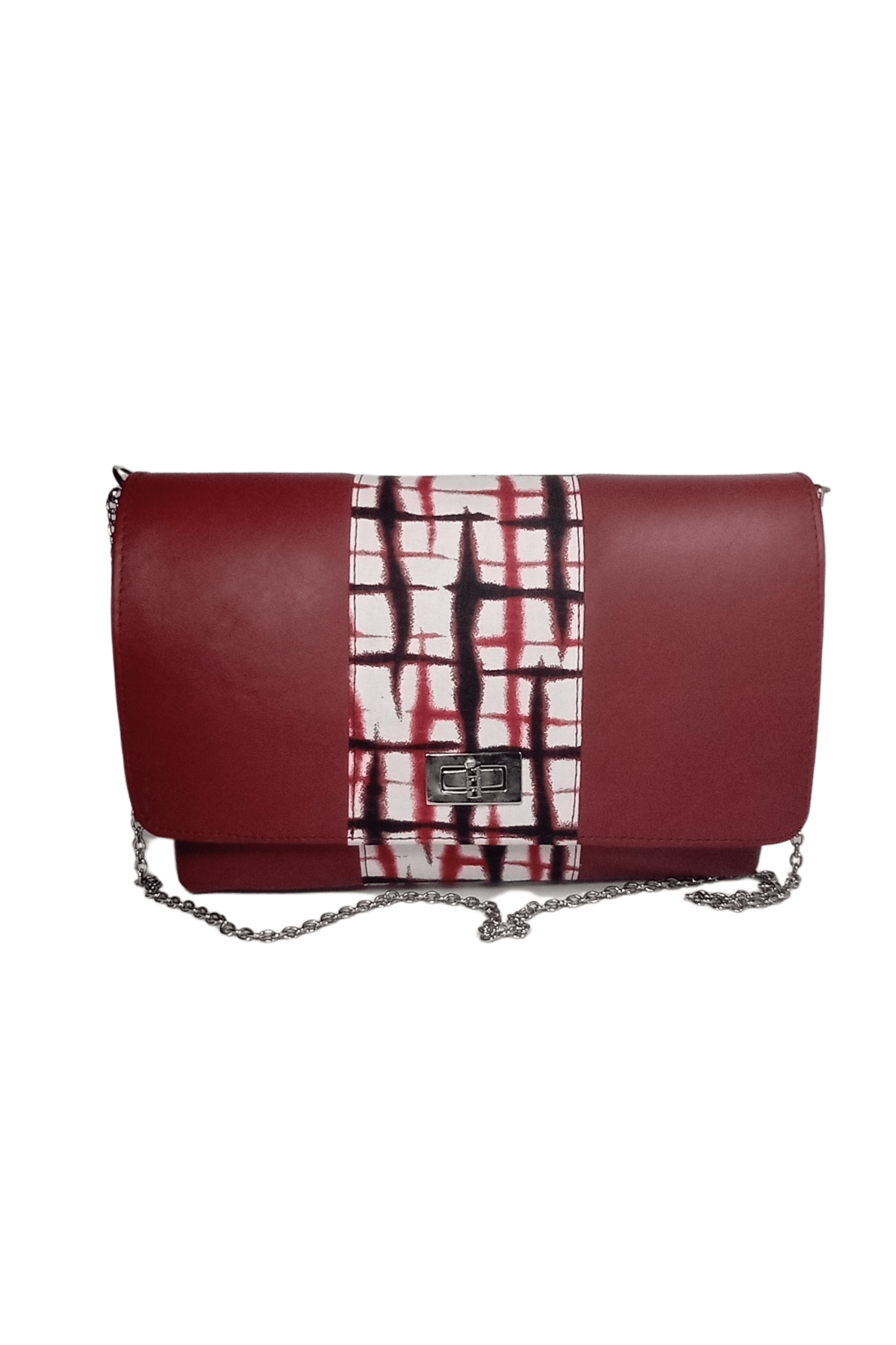 Red African Print Leather Handbag DEZE by Naborhi
