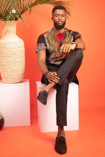 ABDALLA African Mens Black Suit in African Print by Naborhi