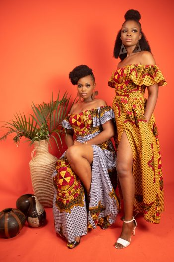 African Print AKILI Maxi Skirt with Side Split and Off Shoulder Crop Top by Naborhi