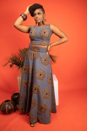 African Print Ankara Crop Top and Matching Maxi Skirt AISSA by Naborhi
