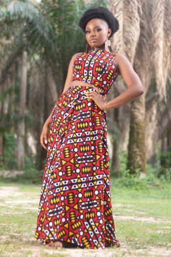African Print Ankara Long Flared Maxi Dress KAMARI by Naborhi
