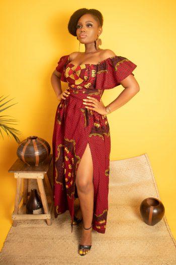 African Print Ankara Maxi Dress with Side Split and Matching off Shoulder Top KADIJA by Naborhi