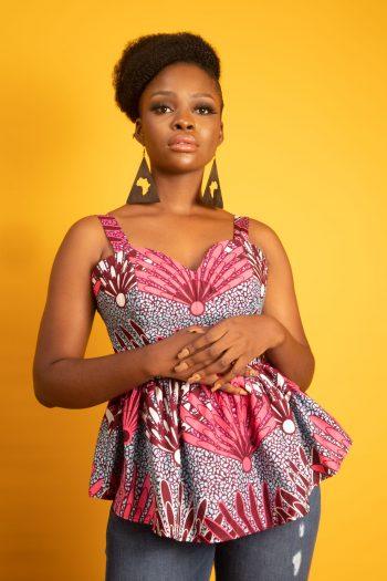 African Print Ankara Peplum top in Pink and Blue DESIRI by Naborhi