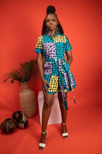 African Print Ankara Shorts Playsuit IVIE by Naborhi