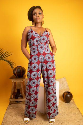 African Print Ankara Wide Leg Jumpsuit - AKINYI by Naborhi