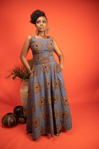 African Print Crop Top and Flared Maxi Skirt in Blue - AISSA by Naborhi