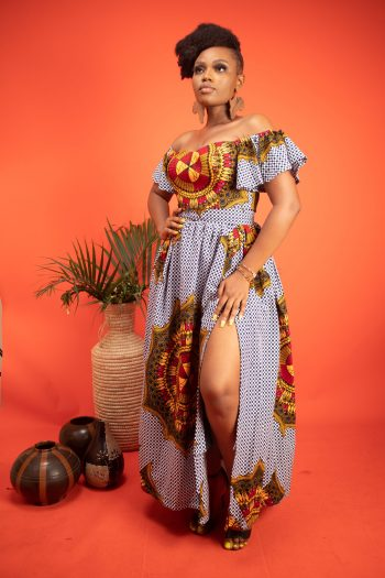 African Print Crop Top and Matching Long Skirt with Side Split KEASHA by Naborhi