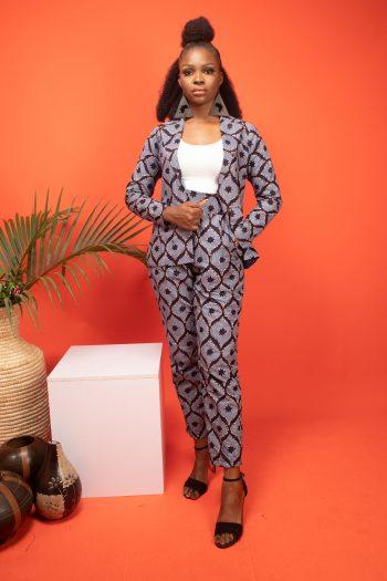 African Print Ladies Trouser Suit with Blazer ASOKA by Naborhi in Blue Ankara Print
