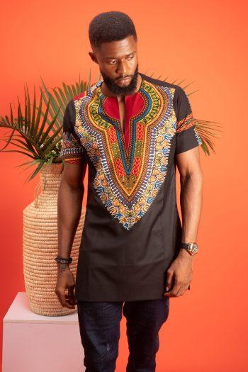 African Print Mens Shirt Abdalla in Dashiki Print by Naborhi African Fashion Brand