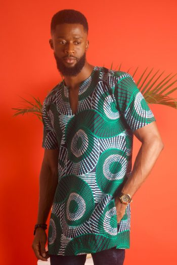 African Print Mens Shirt in Blue and Green - AADAN by Naborhi African Fashion for Men