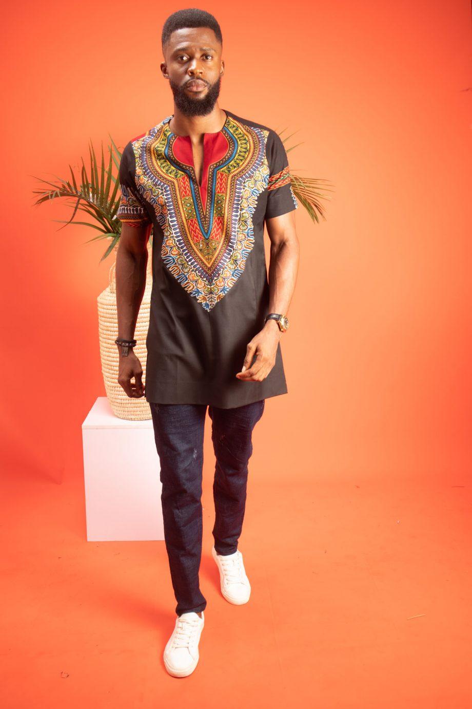 African Print Short Sleeve Shirt Black Abdalla by Naborhi