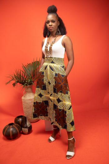 Ankara Mid Skirt in Brown and Yellow African Print AYAAN by Naborhi African clothing for ladies