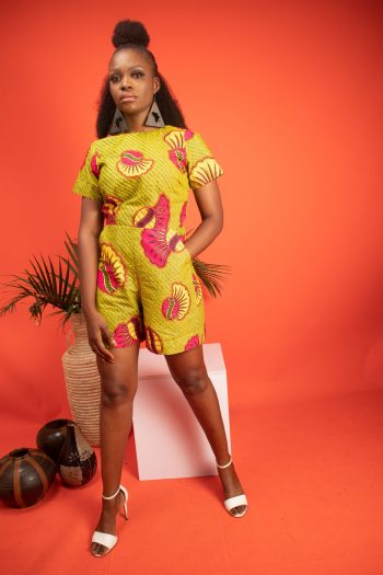 FAYOLA Shorts Playsuit in African Print in Lime Green Ankara by Naborhi