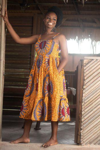 HADIZA African Print Ankara Midi Summer Dress in Yellow by Naborhi
