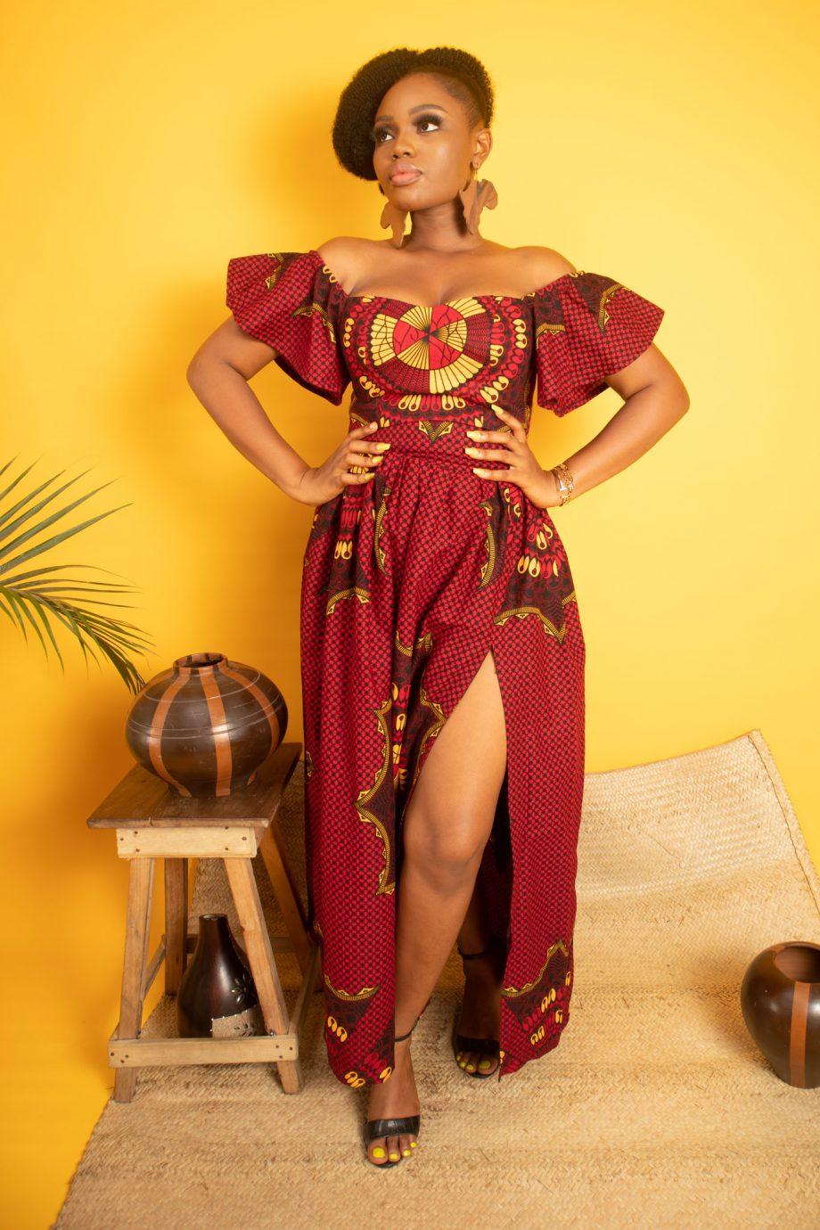 Off Shoulder African Print Ankara Off Shoulder Crop top and Matching Midi Skirt KADIJA by Naborhi
