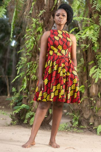 Red African Print Dress ADAMMA by Naborhi