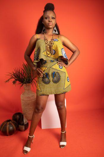 SIMI African Print Ankara Crop Top and Matching Short Skirt in Yellow Ankara by Naborhi