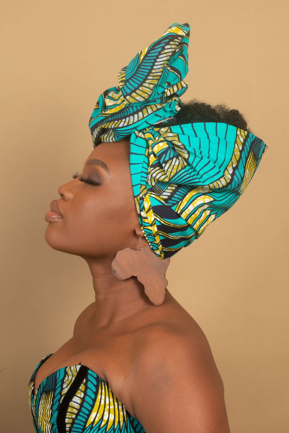 TEMI African Head Wrap in Blue and Green Ankara Print by Naborhi