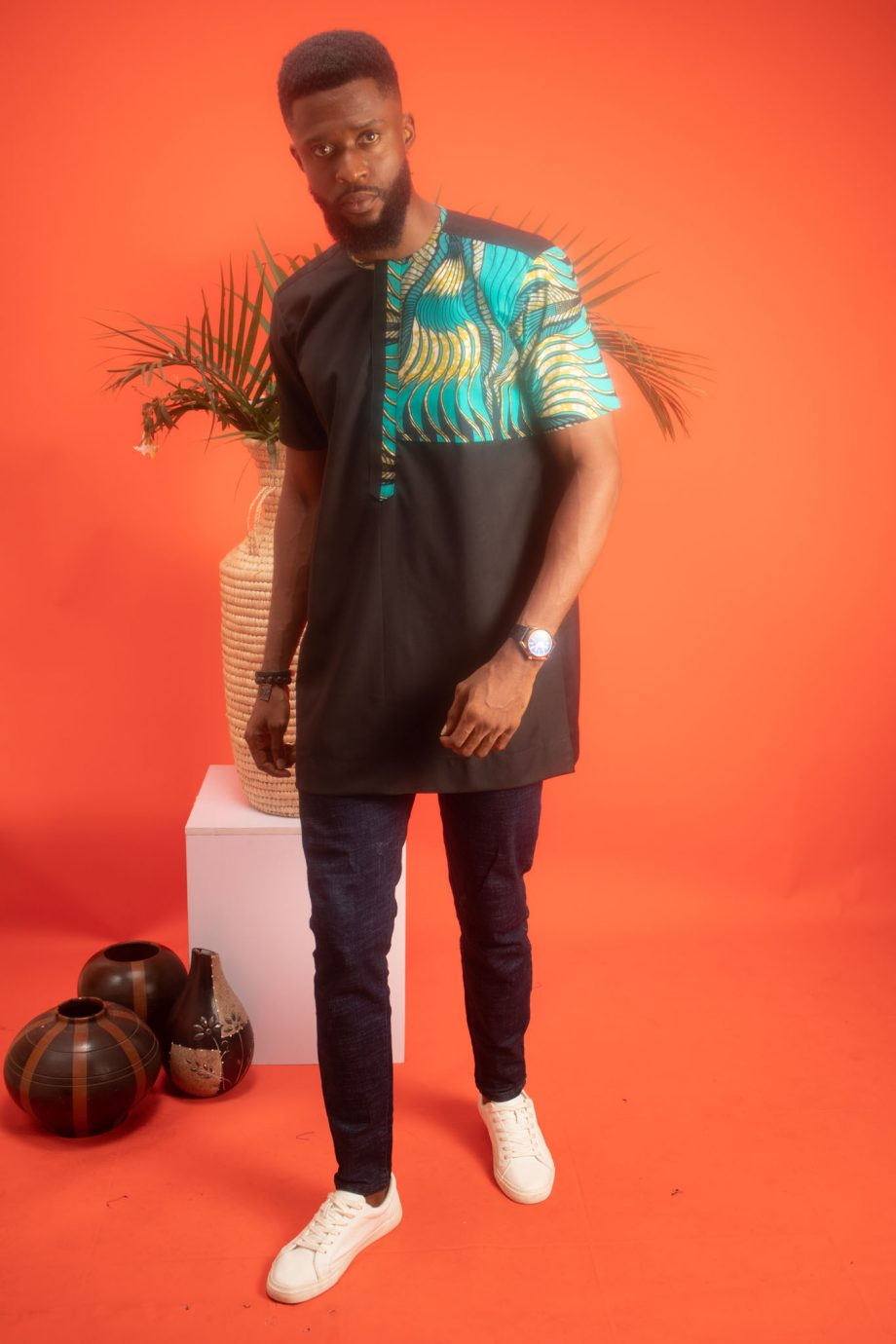 TEMI Mens African Shirt with Blue and Green Ankara Print by Naborhi