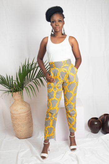 Yellow African Print Ankara High Waist Pants MASEGO by Naborhi