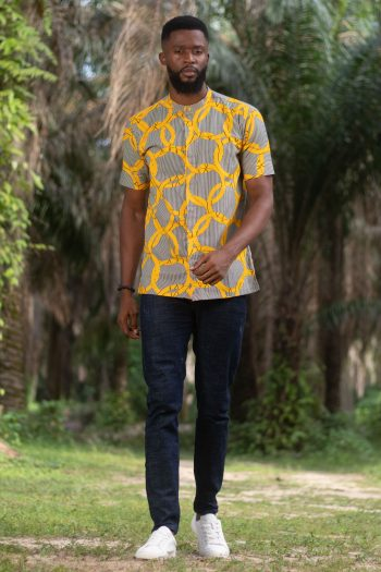 Yellow African Print Short Sleeve Shirt for Men MASEGO by Naborhi African Fashion Brand
