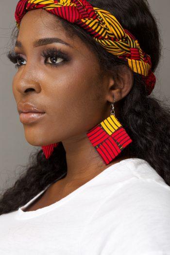 Zarina Diamond Ankara Earrings in Yellow And Red by Naborhi