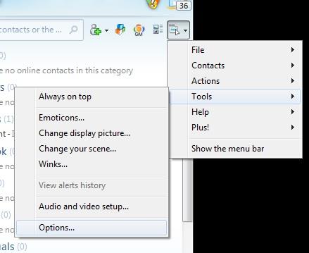 msn live messenger history option