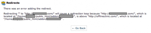 cpanel there was an error adding redirect